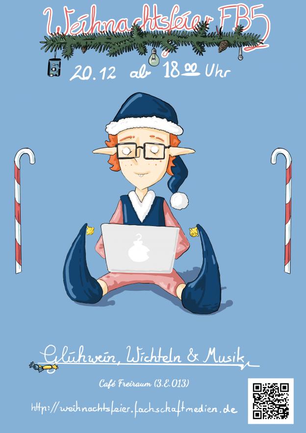 Plakat Weihnachtsfeier 20.12.17 ab 18 Uhr im Café Freiraum